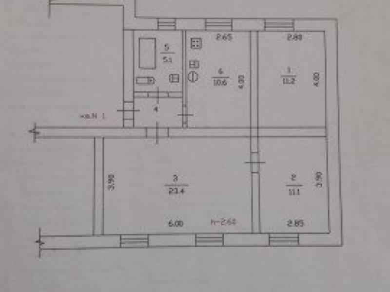 Продается 3-комнатная квартира, 64 м2, 1/2 этаж