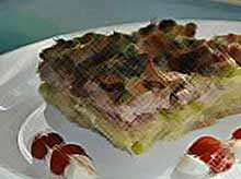 Запеканка из кабачков с мясом и грибами.