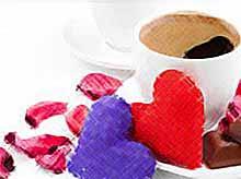 Романтический завтрак на День святого Валентина.