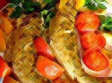 Судак запеченный с овощами