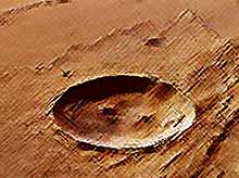 На Марсе засняли необычный кратер