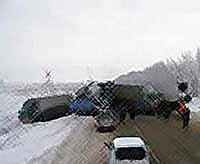 Из-за гололеда на въезде в Краснодар столкнулись пять машин