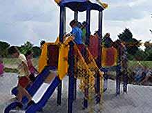 В Тимашевске появилась еще одна новенькая игровая детская площадка.